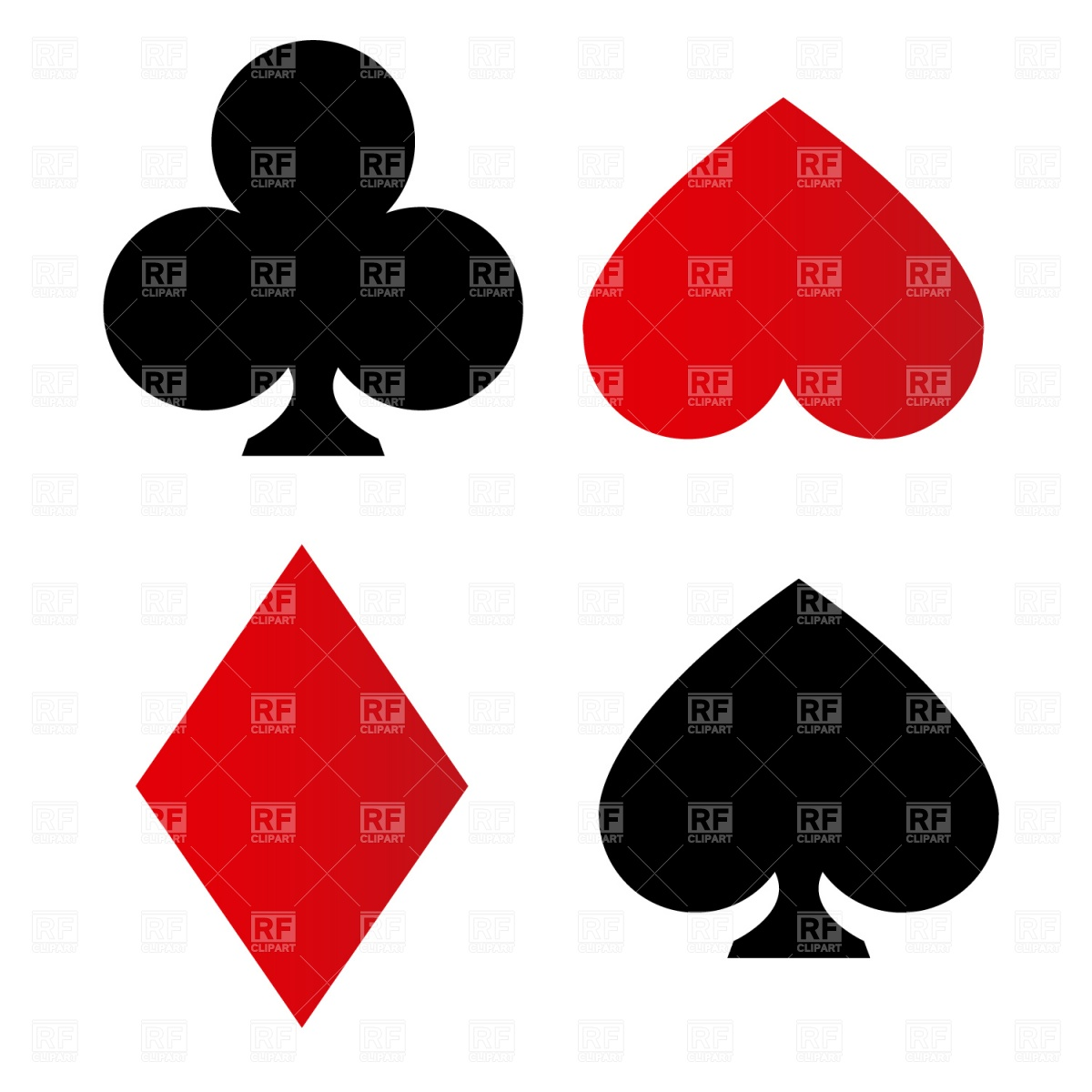Playing card suit symbols Stock Vector Image.