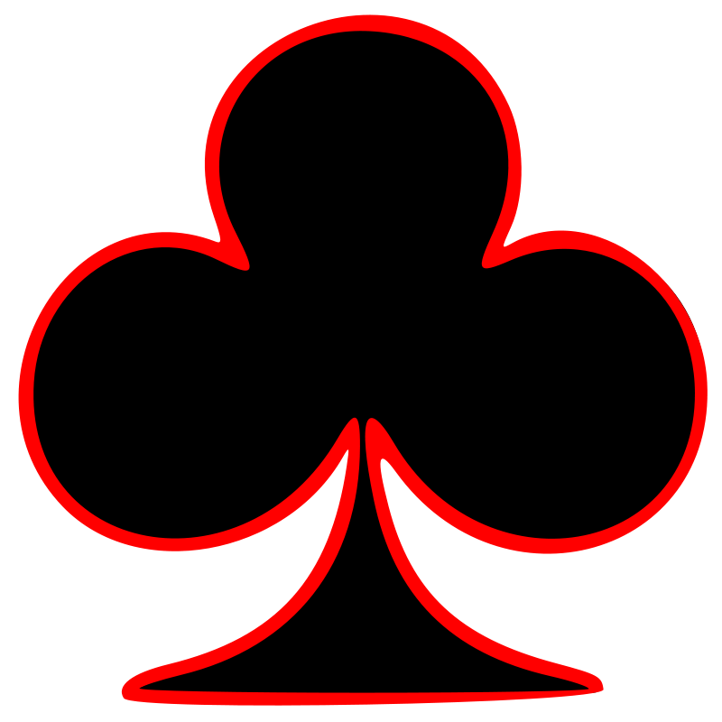 Free Clipart: Outlined Club Playing Card Symbol.