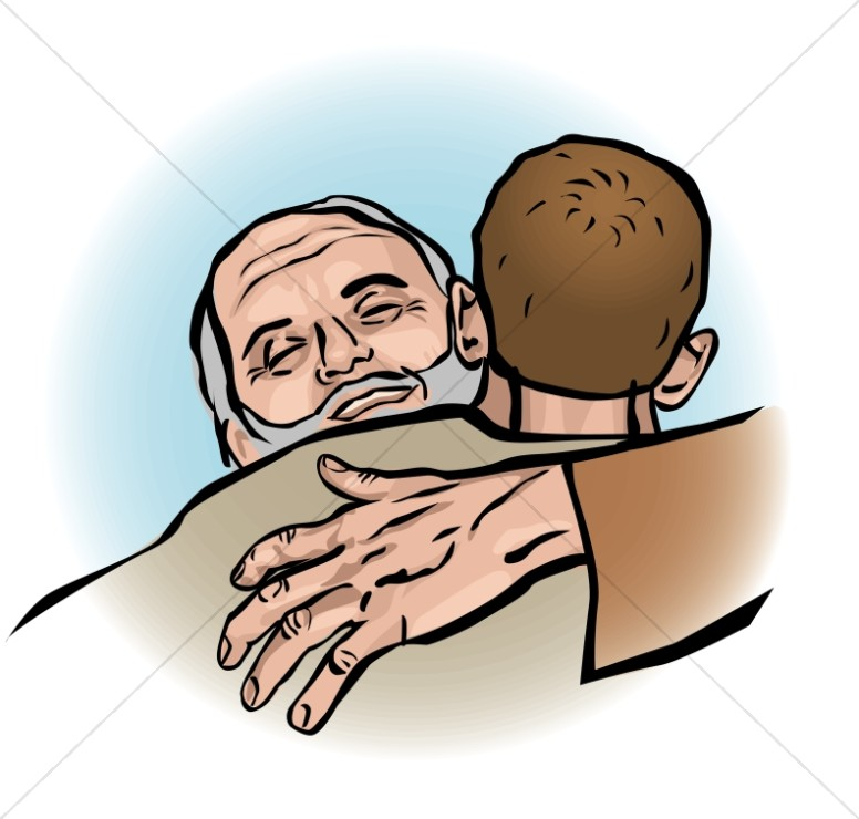 Father Welcomes Prodigal Son Clipart.