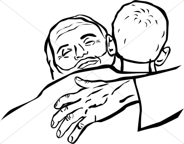 The Father Embraces the Prodigal Son Clipart.