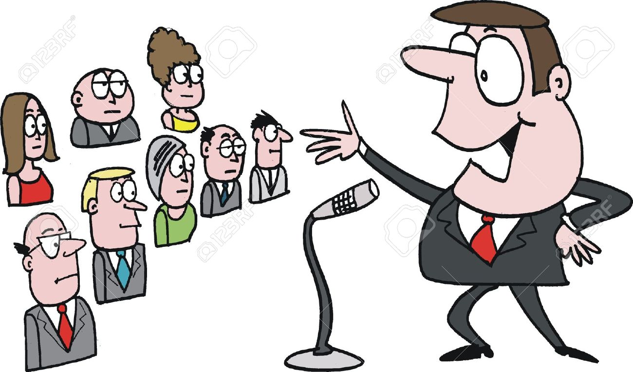 Vector cartoon of confident public speaker.