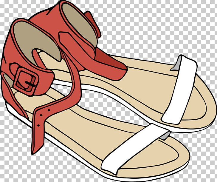 Sandal Euclidean PNG, Clipart, Beach Sandal, Black And White.