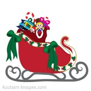 Clip Art of Santas Sleigh With His Toy Bag Inside.