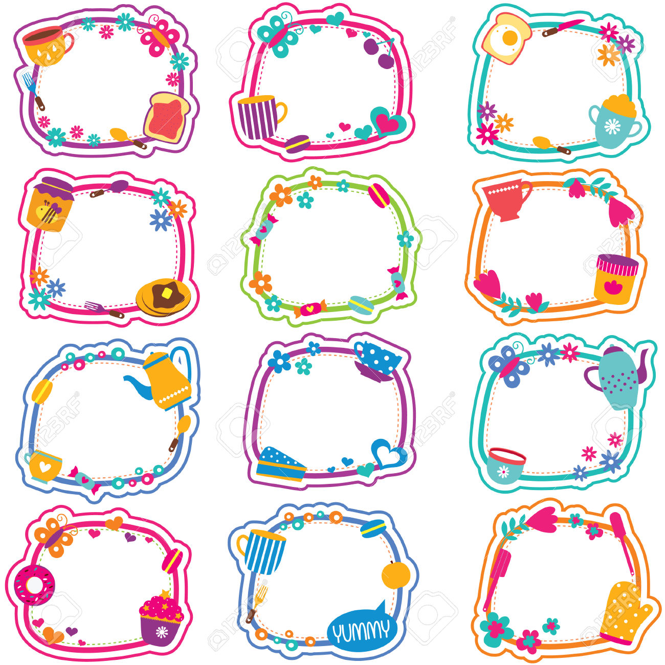 Tea Time Frames Clip Art Set Royalty Free Cliparts, Vectors, And.