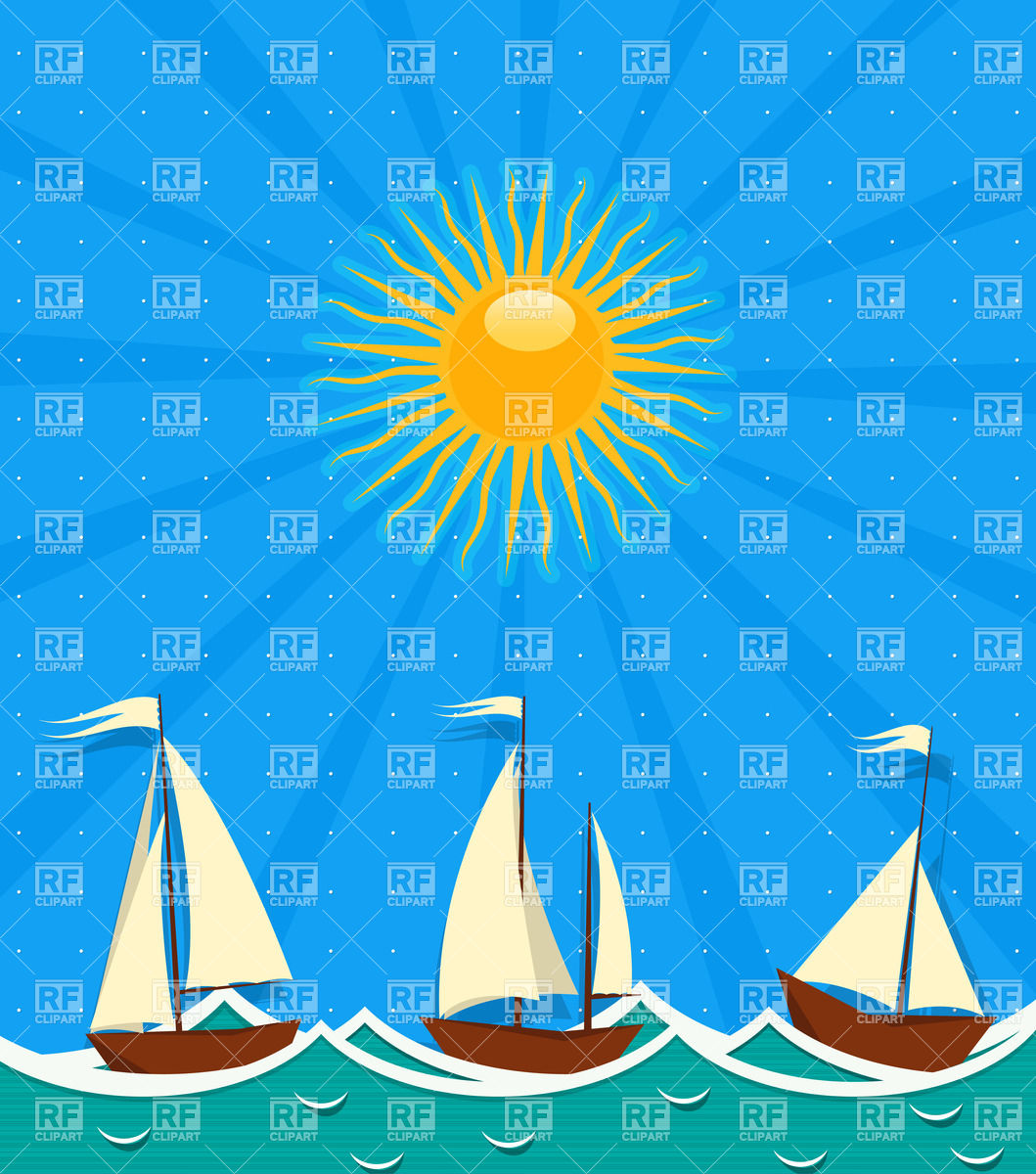 Sailing ships in the sea Stock Vector Image.