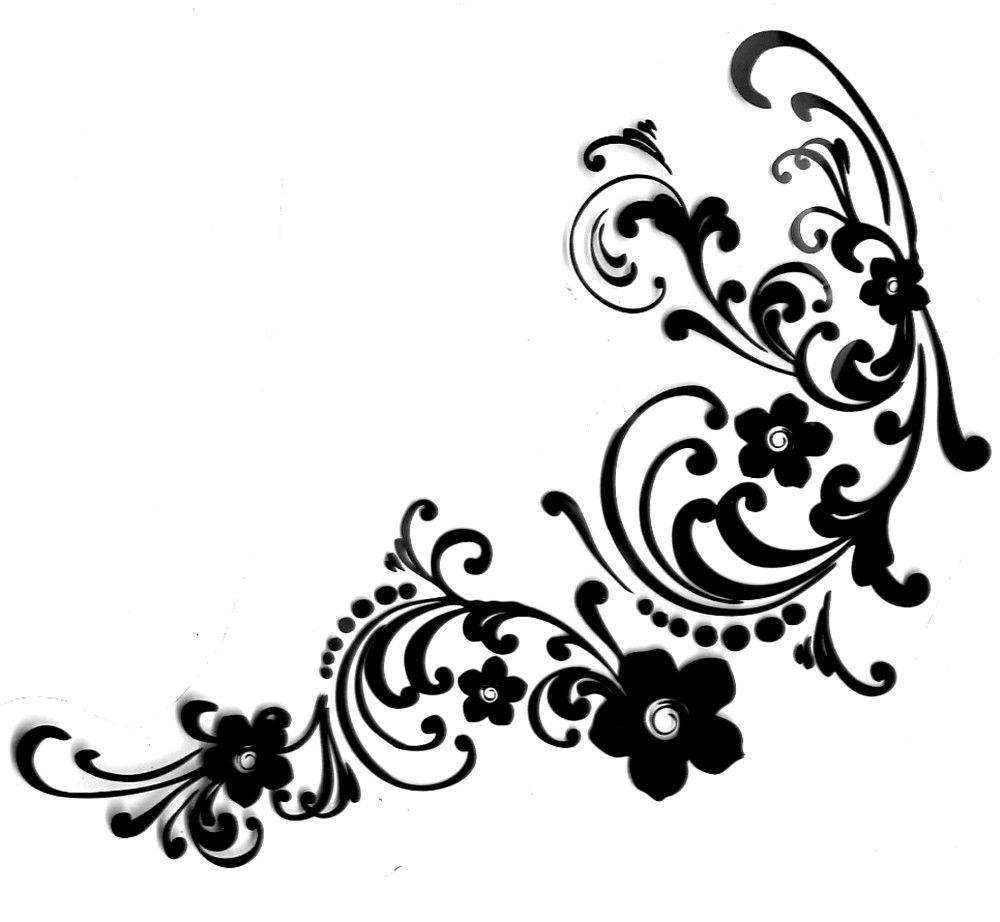 Free Flourish Clip Art Black and White.