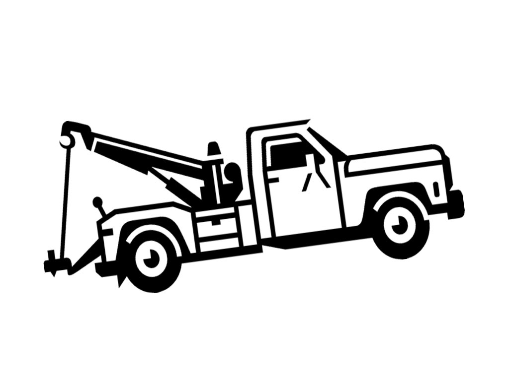 Tow Truck Clip Art Black and White.