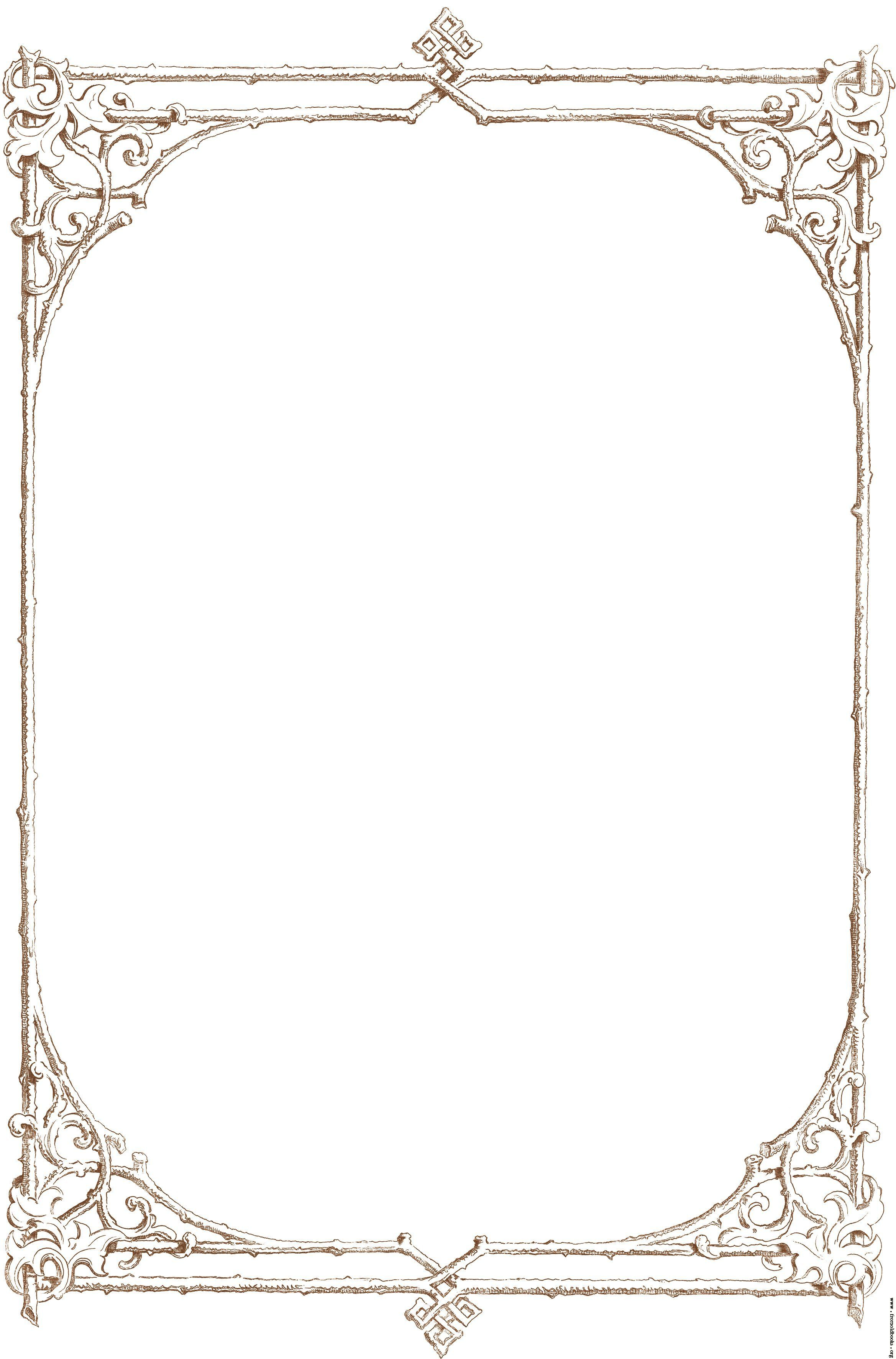 Free Clip Art Victorian Border Of Brown Twigs Details.