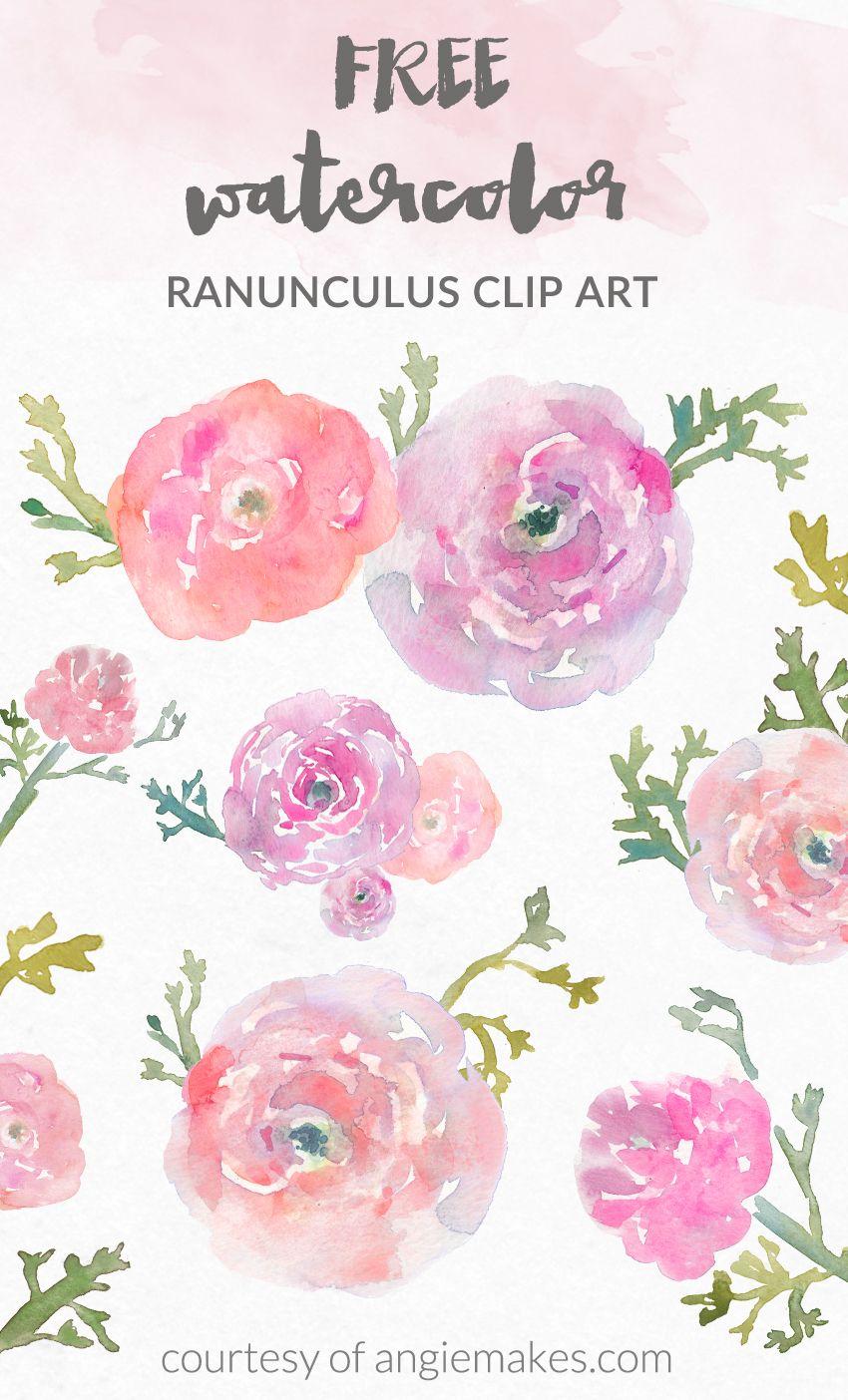 Free Watercolor Flower Clip Art.