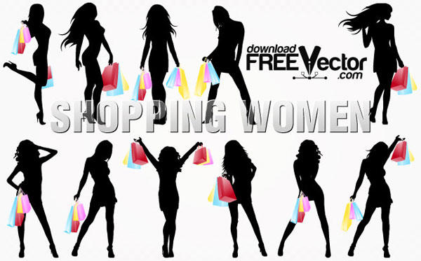 Shopping Women Silhouettes Vector.