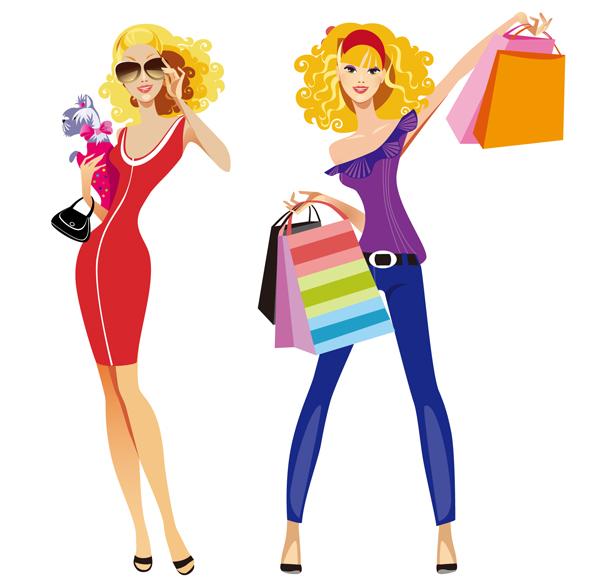 Women shopping clip art 2.