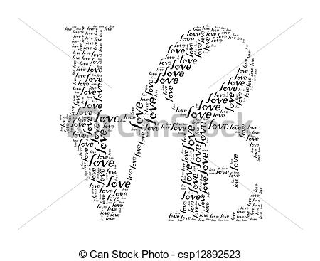 Clip Art of love text collage Composed in the shape of word love.