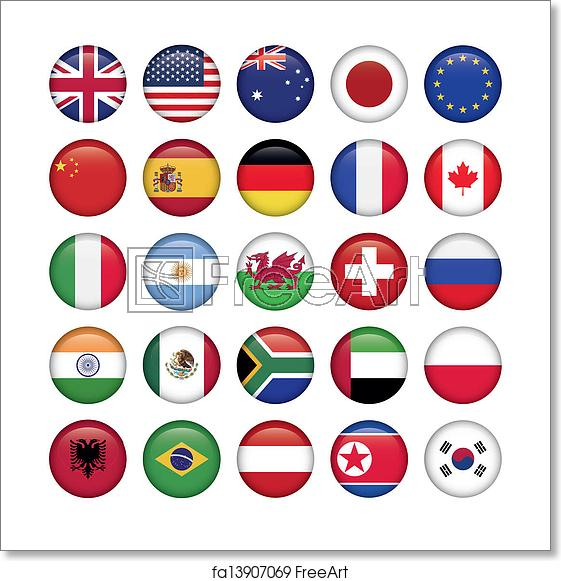 Free art print of Set of Round Flags world top states.