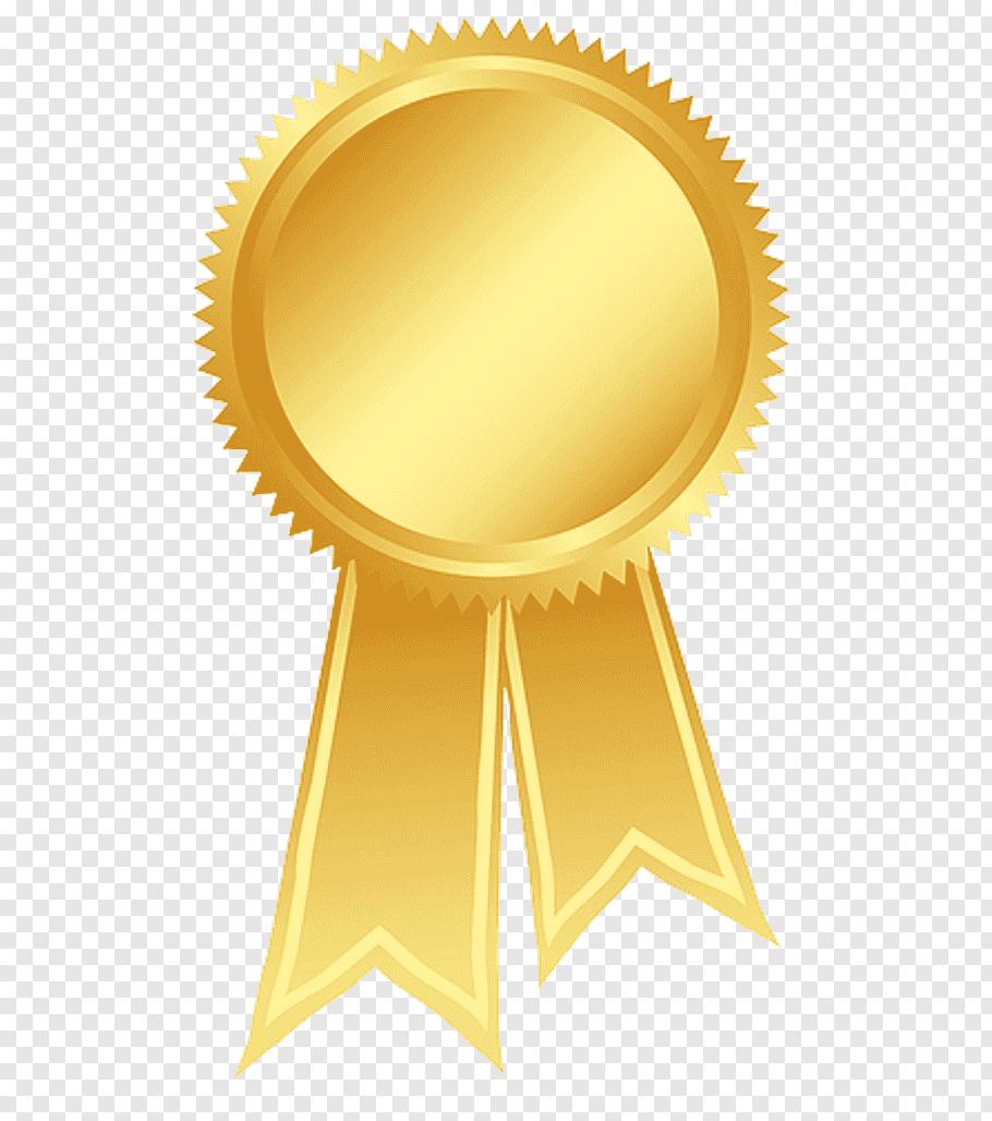 Gold medal illustration, Ribbon Gold Rosette Award, Gold.