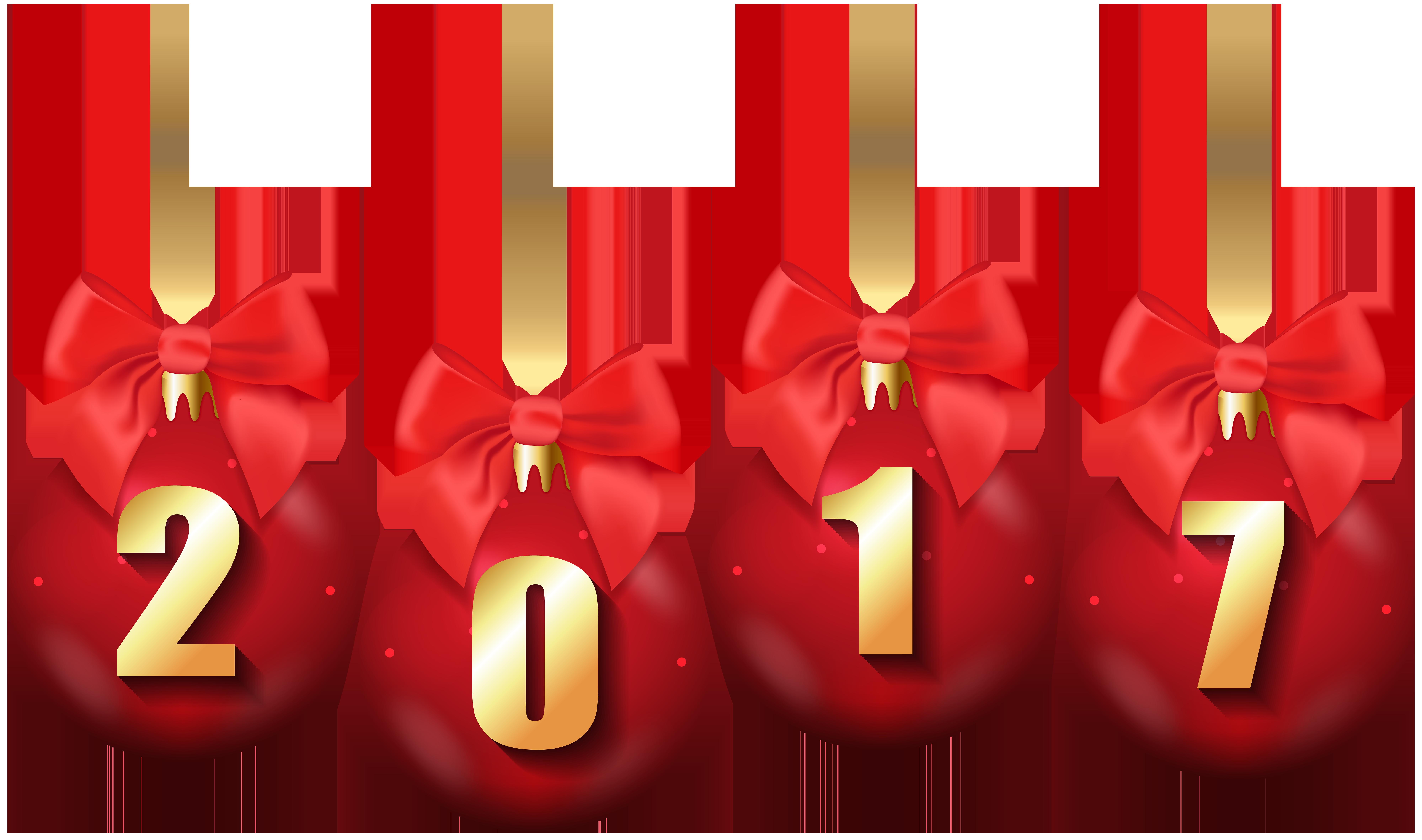 2017 Christmas Balls Transparent PNG Clip Art Image.