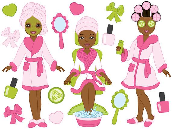 African American Spa Girls Clipart Digital Vector by.