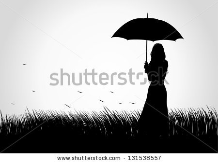 Silhouette Of Girl With Umbrella Stock Images, Royalty.
