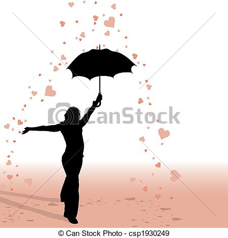 Stock Illustration of Girl and Umbrella.