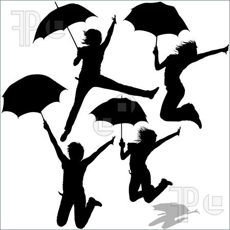 Girl With Umbrella Clipart.