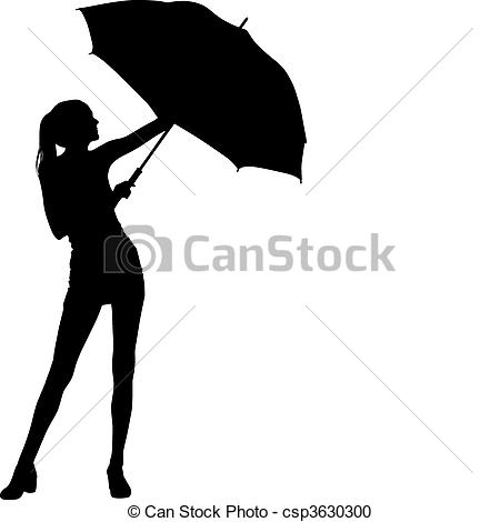 Silhouette outline umbrella rain happy beautiful woman Vector.