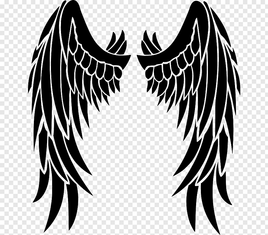 Stencil Angel Drawing, angel wings free png.