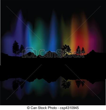 Clipart Vector of Northern lights.
