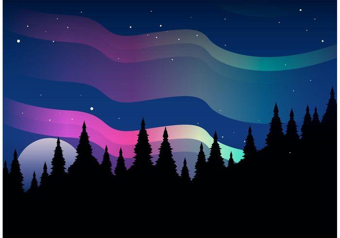 Northern Lights Vector Landscape.