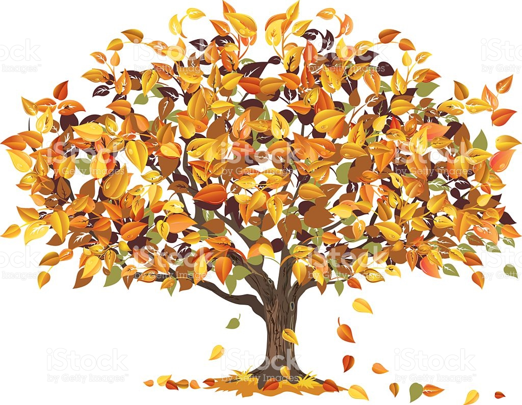 Autumn Tree With Some Of Its Leaves Falling To Ground stock vector.