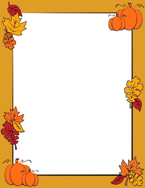 An autumn page border with fall leaves and pumpkins. Free.
