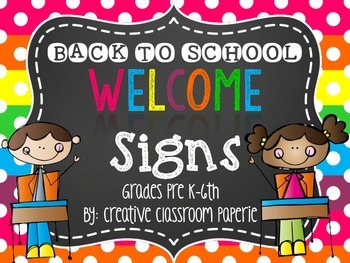 Back to School Night Welcome Signs {Grades Pre K.