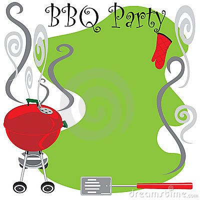 Barbecue invitation clip art with the text \