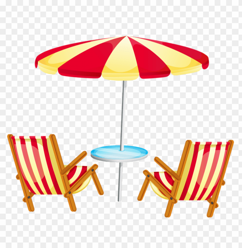 Download transparent beach umbrella with chairs clipart png.