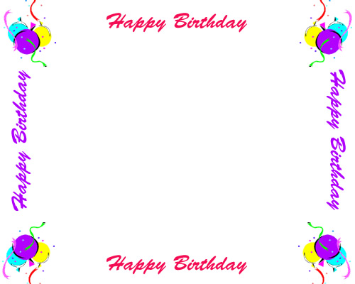 Free Birthday Borders for Invitations and Other Birthday Projects.