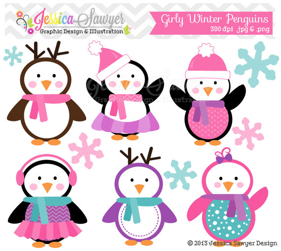 Girls Penguin Clipart , winter baby shower, winter birthday party.