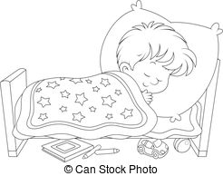 Free Clipart Black And White Boy Sleeping.