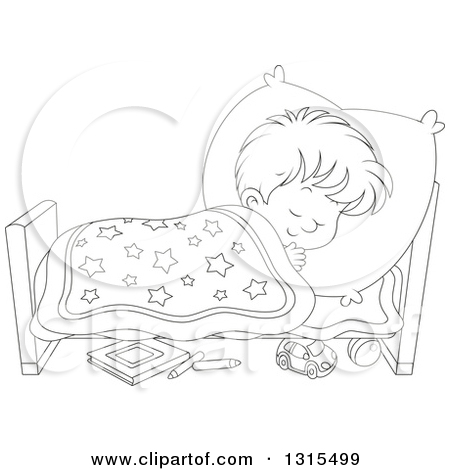 Boy Sleeping Clipart Black And White.