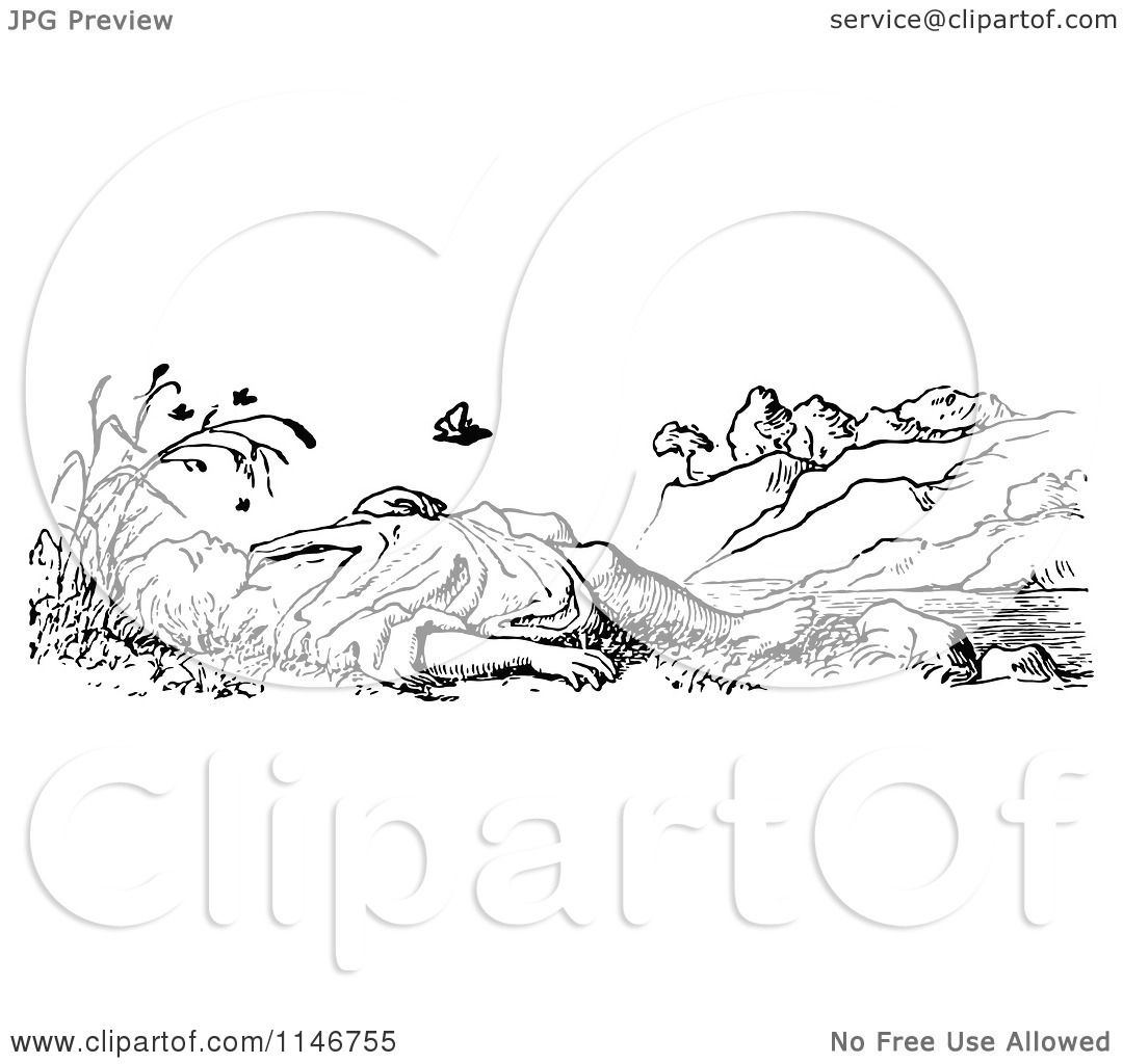 Clipart of a Retro Vintage Black and White Boy Sleeping Outside.