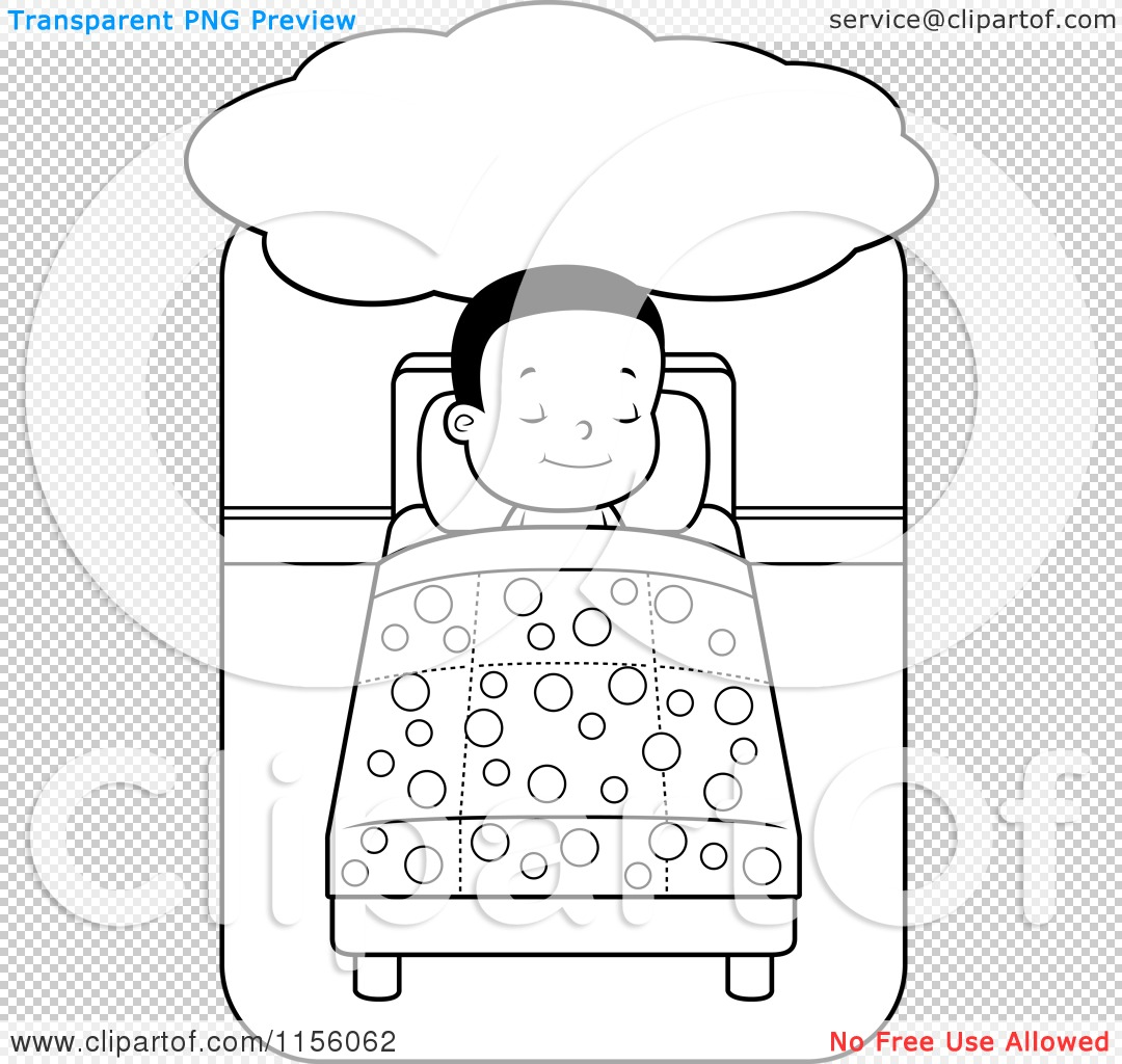 Cartoon Clipart Of A Black And White Little Boy Dreaming and.
