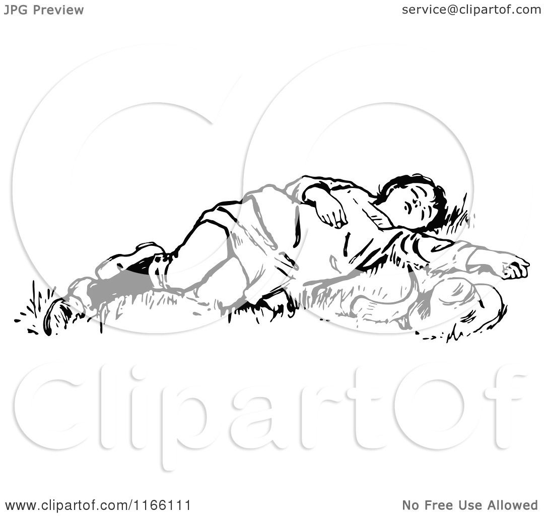 Clipart of a Retro Vintage Black and White Boy Sleeping in Grass.
