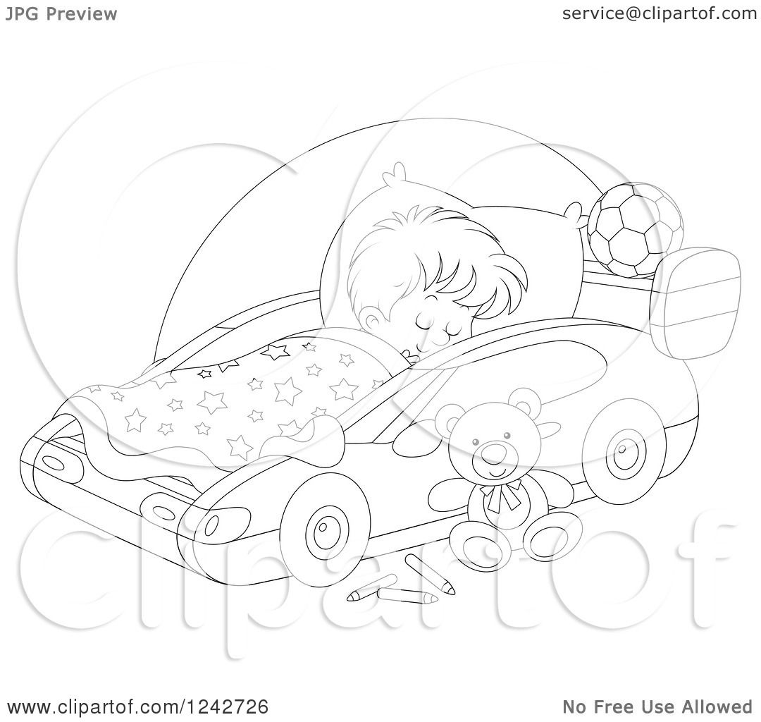 Clipart of a Black and White Boy Sleeping in a Car Bed.