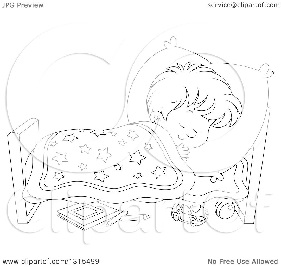 Clipart of a Cartoon Black and White Boy Sleeping Peacefully in a.