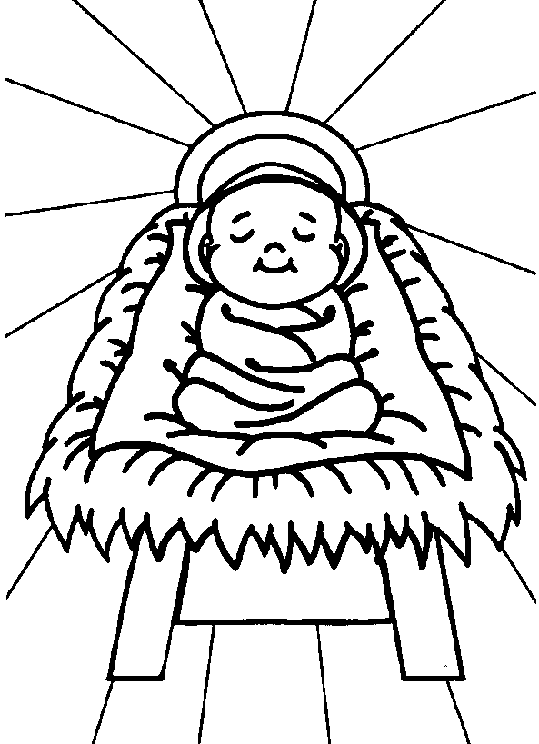 Free Black And White Clipart Of Jesus Birth.