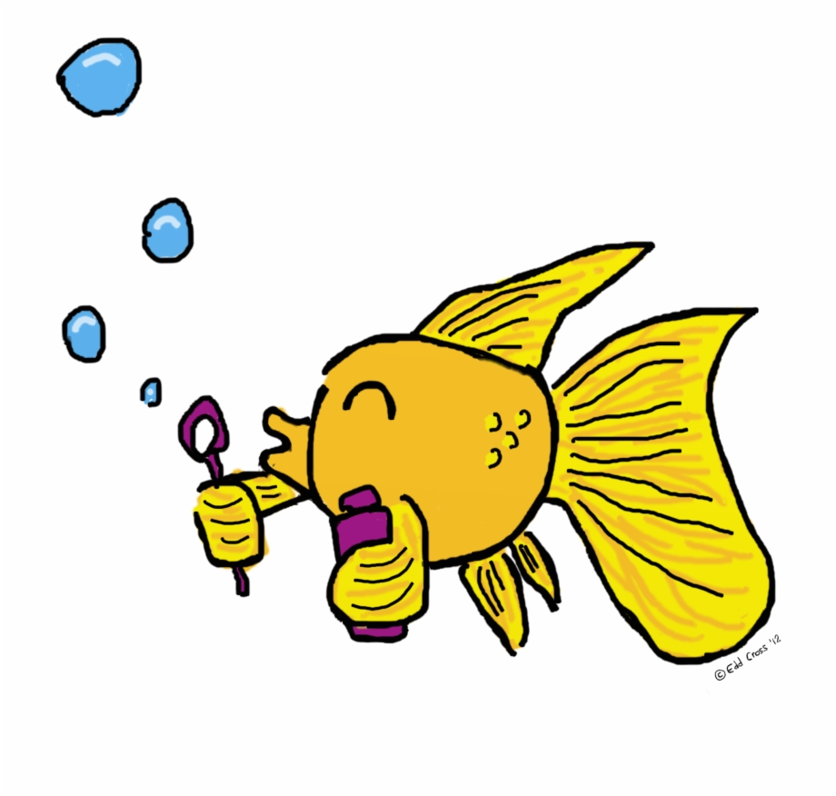 Fish Blowing Bubbles Illustration.