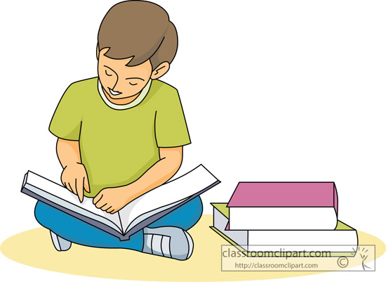 Pupils Reading Books Clipart.