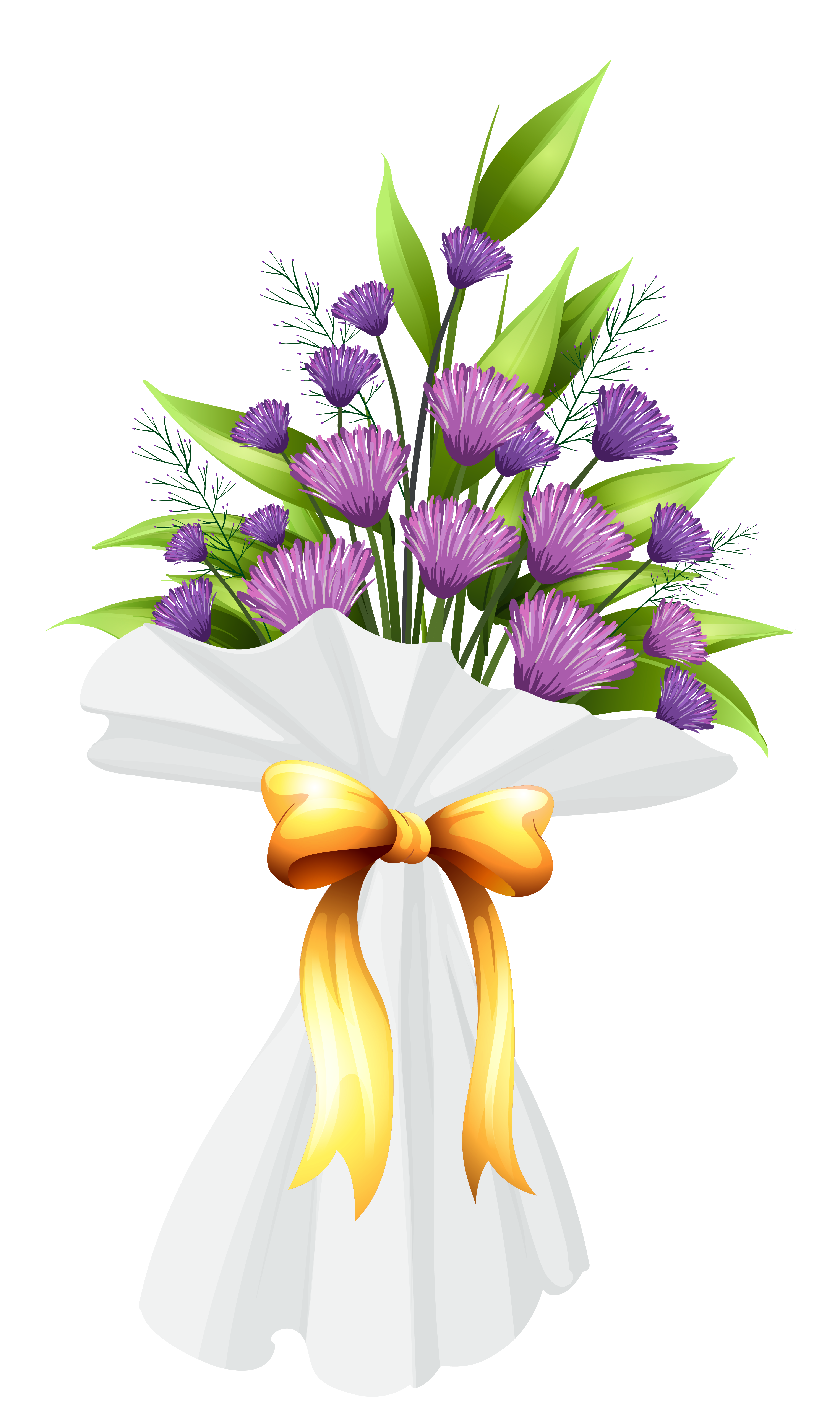 Purple Flowers Bouquet PNG Clipart Image.