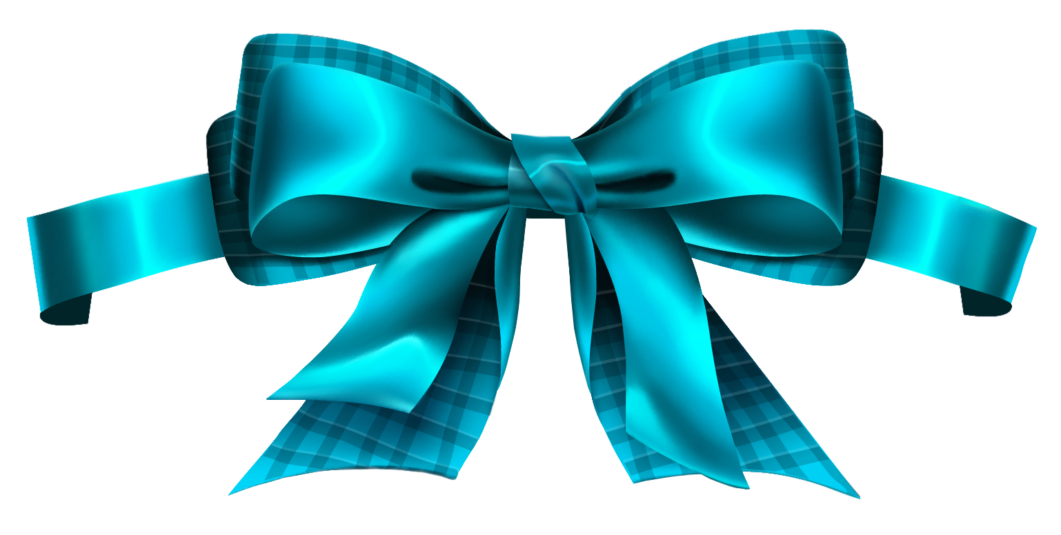 Blue Checkered Bow PNG Clipart Picture.