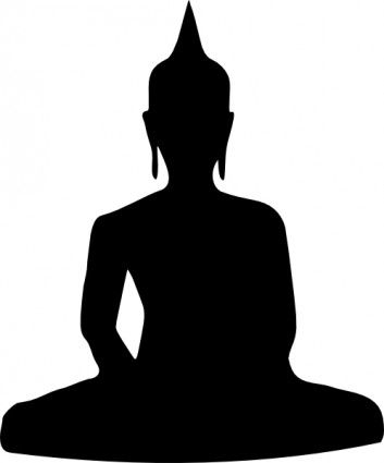 Silhouette Of Buddha Sitting clip art.