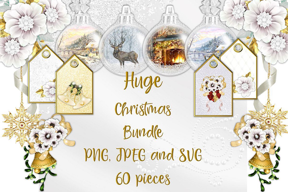 Christmas Clipart Bundle Commercial Use with FREE card kit.