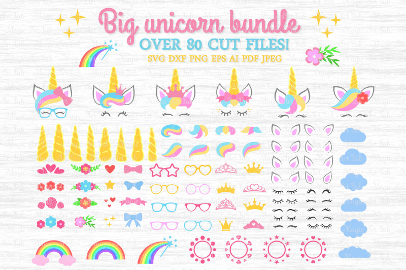 Free Unicorn SVG, Unicorn bundle SVG, Unicorn clipart, Unicorn party.