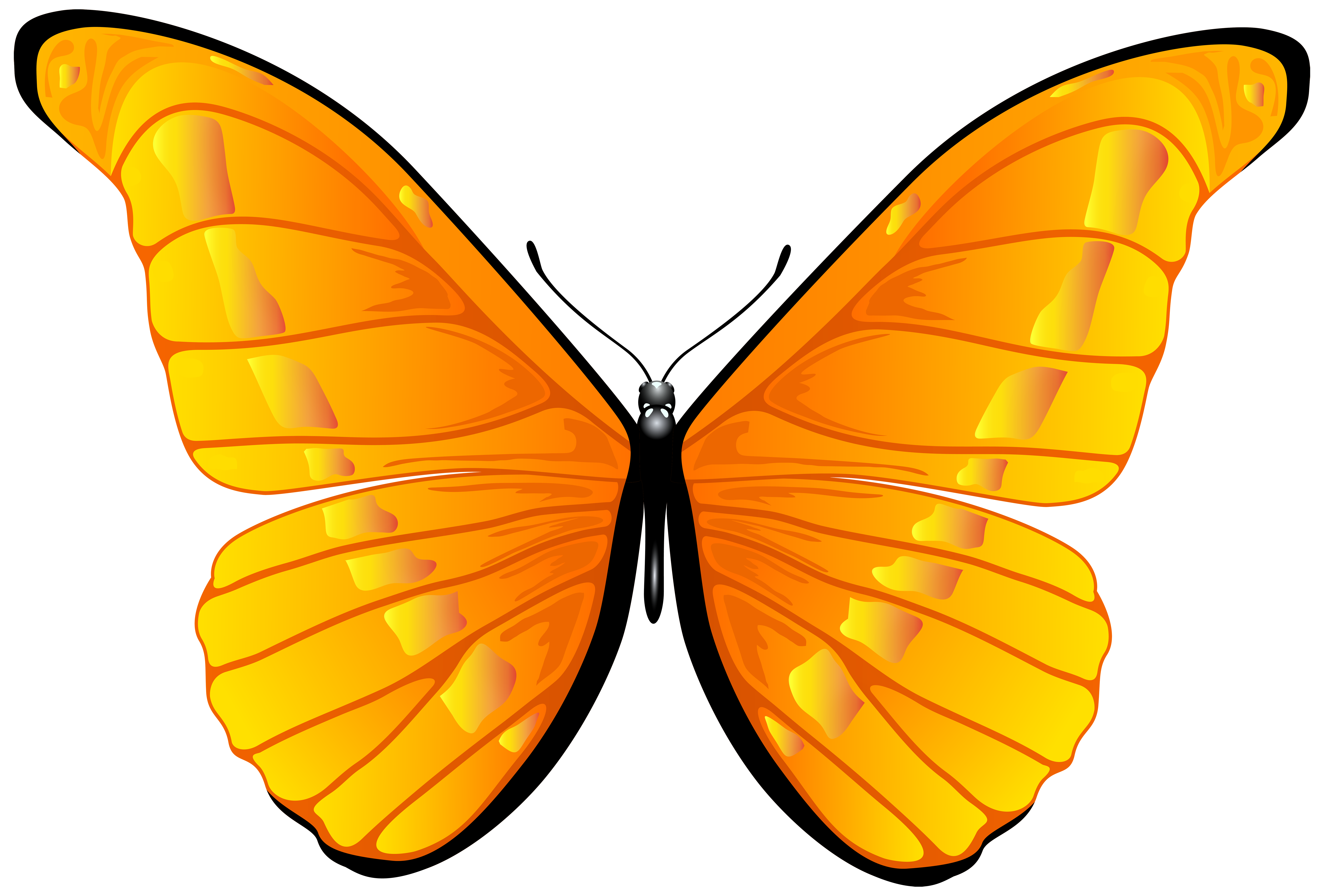 Orange Butterfly PNG Clip Art Image.